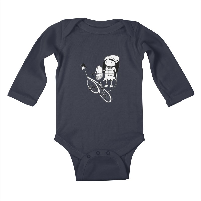 Zeginella rides a bike Kids Baby Longsleeve Bodysuit by coclodesign's Artist Shop