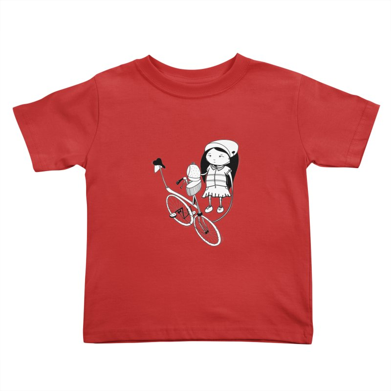 Zeginella rides a bike Kids Toddler T-Shirt by coclodesign's Artist Shop