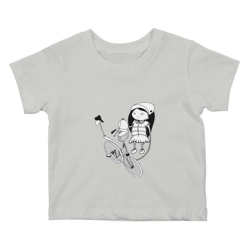 Zeginella rides a bike Kids Baby T-Shirt by coclodesign's Artist Shop