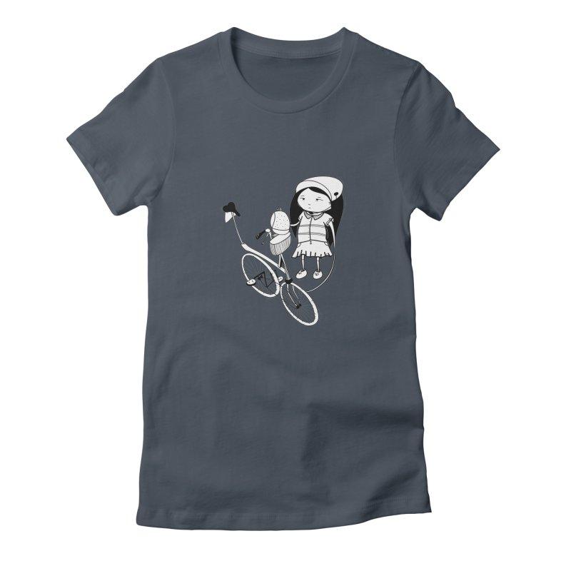 Zeginella rides a bike Women's T-Shirt by coclodesign's Artist Shop