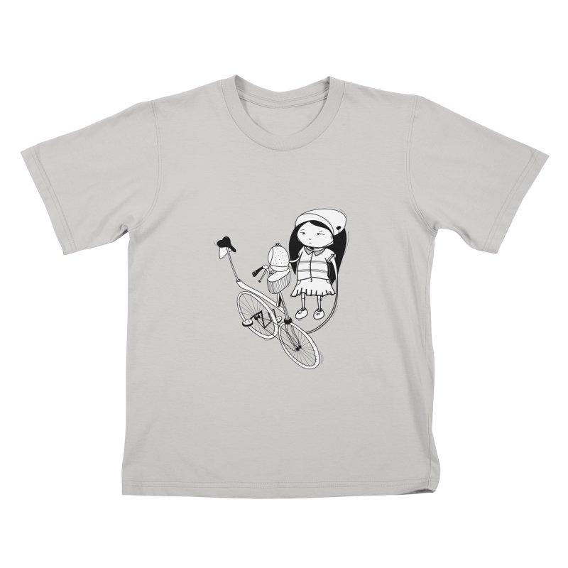 Zeginella rides a bike Kids T-shirt by coclodesign's Artist Shop