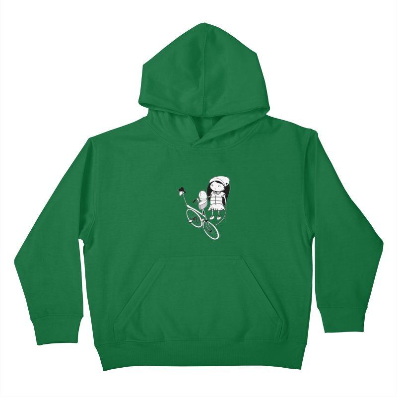 Zeginella rides a bike Kids Pullover Hoody by coclodesign's Artist Shop