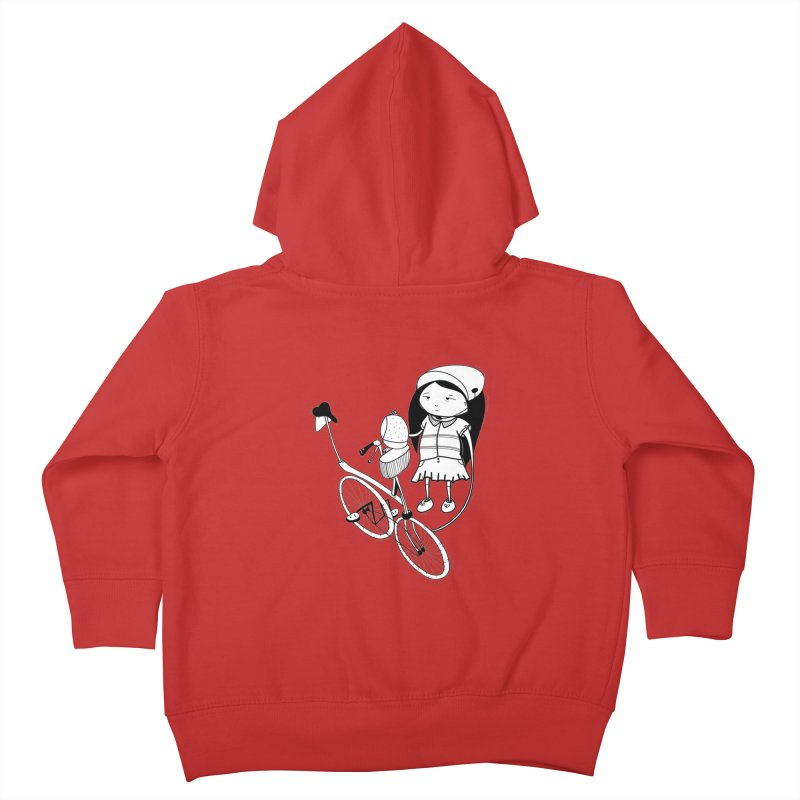 Zeginella rides a bike Kids Toddler Zip-Up Hoody by coclodesign's Artist Shop