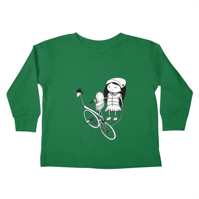 Zeginella rides a bike Kids Toddler Longsleeve T-Shirt by coclodesign's Artist Shop