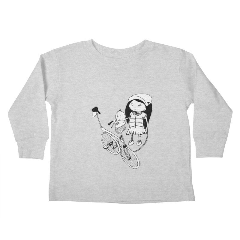 Zeginella rides a bike Kids Toddler Longsleeve T-Shirt by coclodesign's Artist Shop