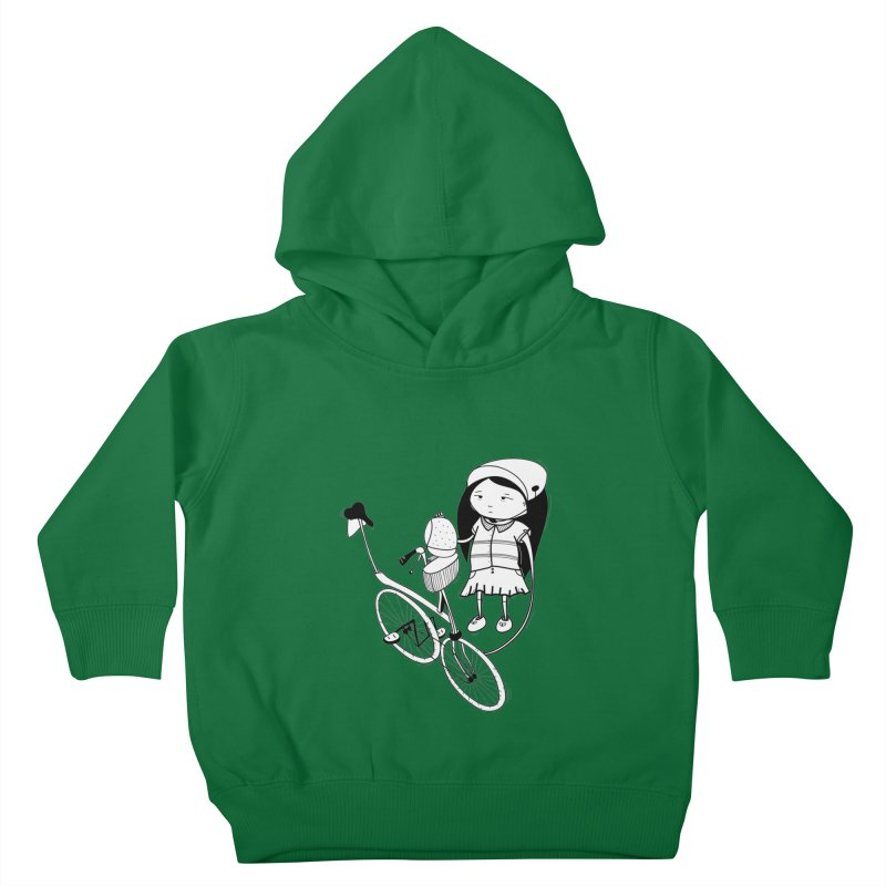 Zeginella rides a bike Kids Toddler Pullover Hoody by coclodesign's Artist Shop