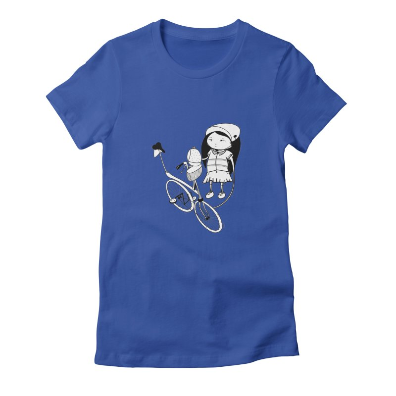 Zeginella rides a bike Women's Fitted T-Shirt by coclodesign's Artist Shop