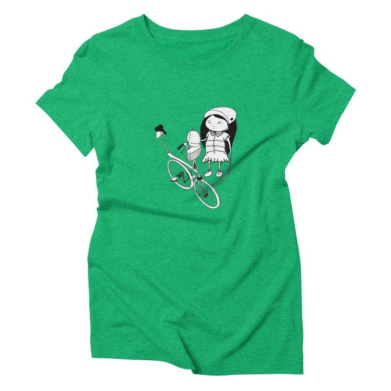 Zeginella rides a bike Women's Triblend T-Shirt by coclodesign's Artist Shop