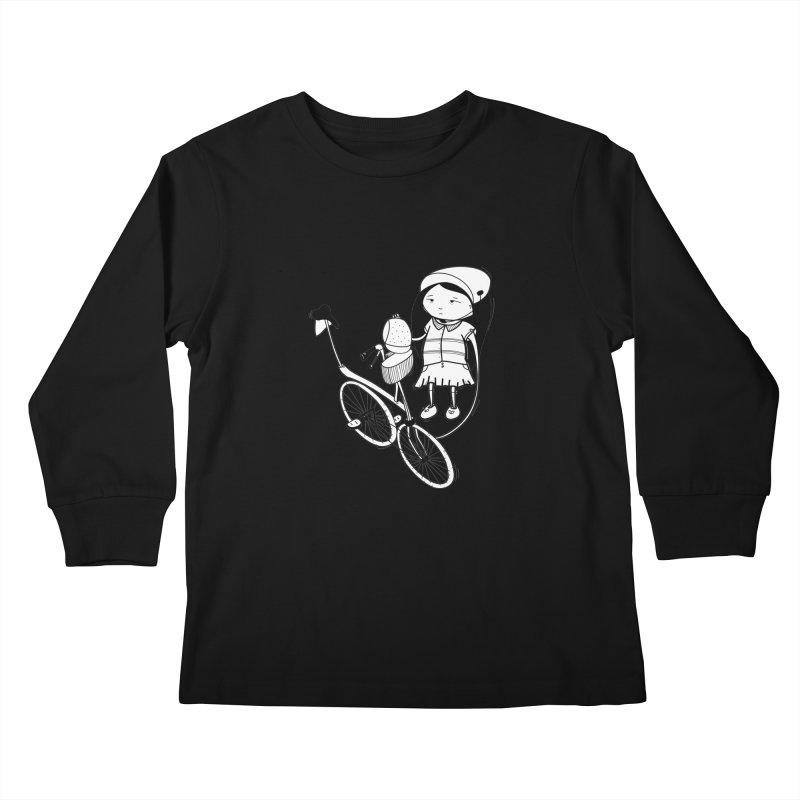 Zeginella rides a bike Kids Longsleeve T-Shirt by coclodesign's Artist Shop