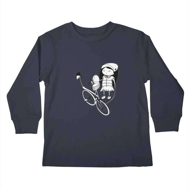 Zeginella rides a bike Kids Longsleeve T-Shirt by coclodesign's Artist Shop