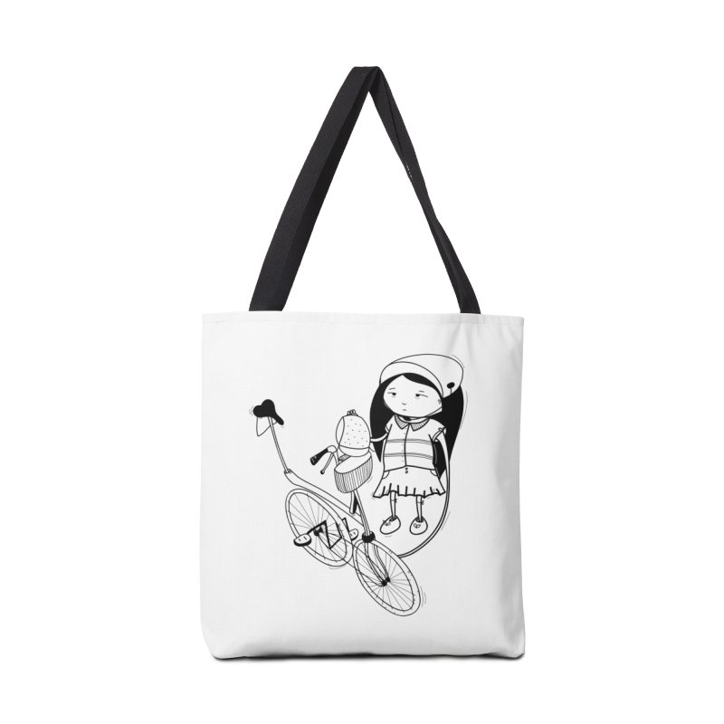 Zeginella rides a bike Accessories Tote Bag Bag by coclodesign's Artist Shop