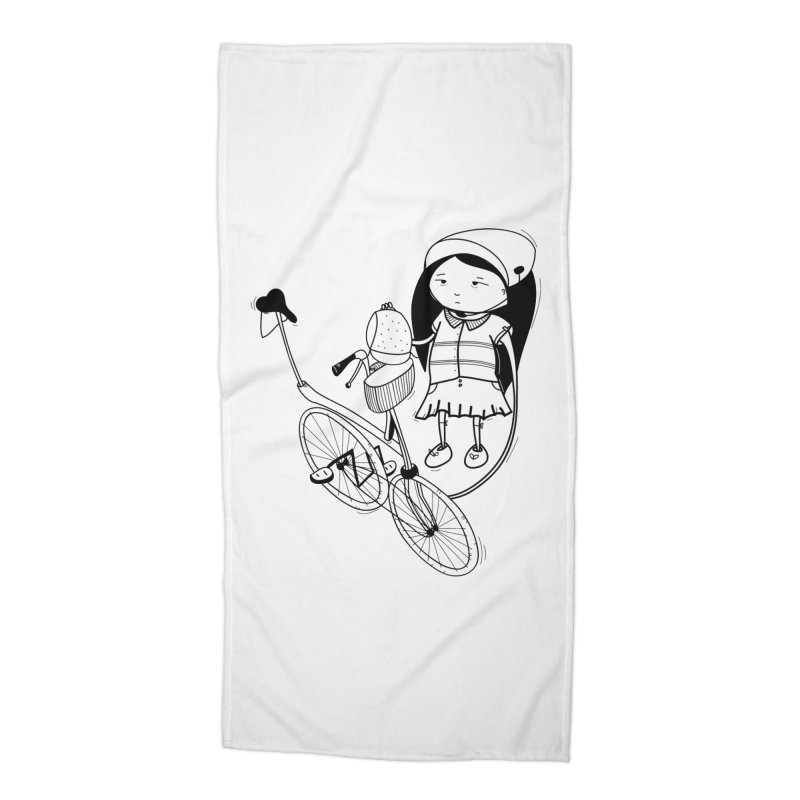 Zeginella rides a bike Accessories Beach Towel by coclodesign's Artist Shop