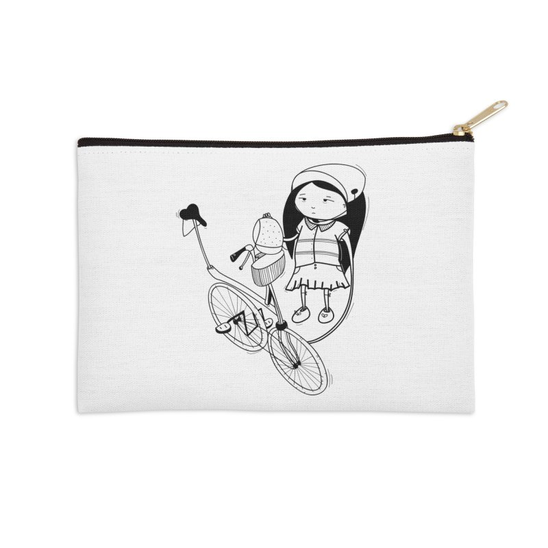 Zeginella rides a bike Accessories Zip Pouch by coclodesign's Artist Shop