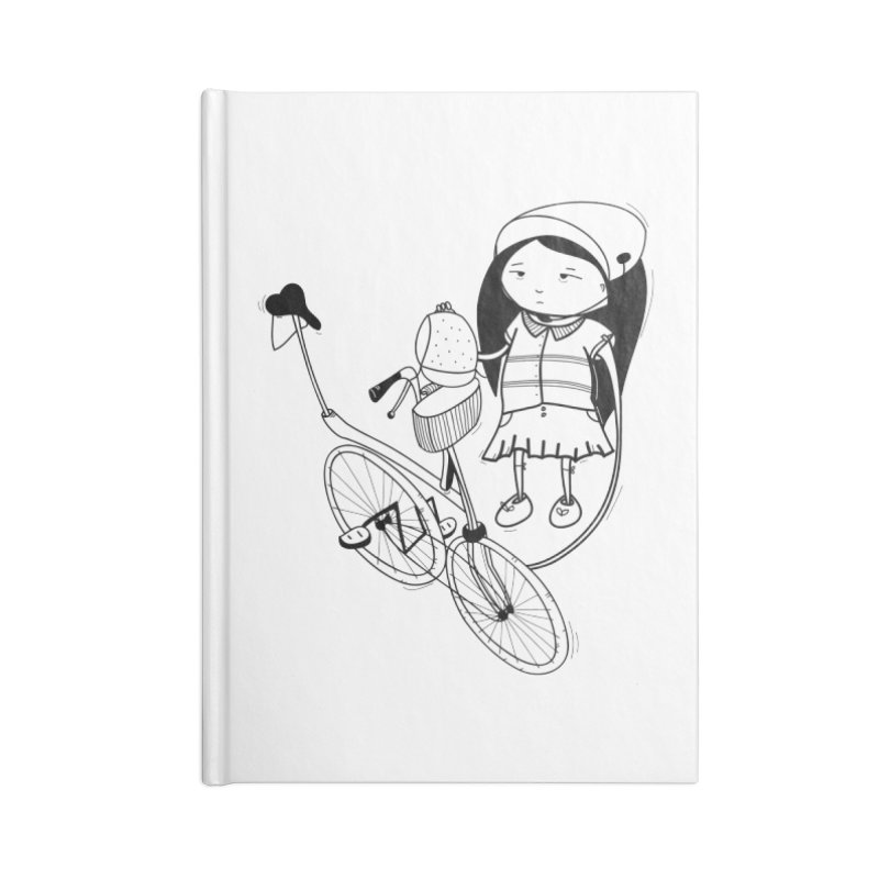 Zeginella rides a bike Accessories Lined Journal Notebook by coclodesign's Artist Shop