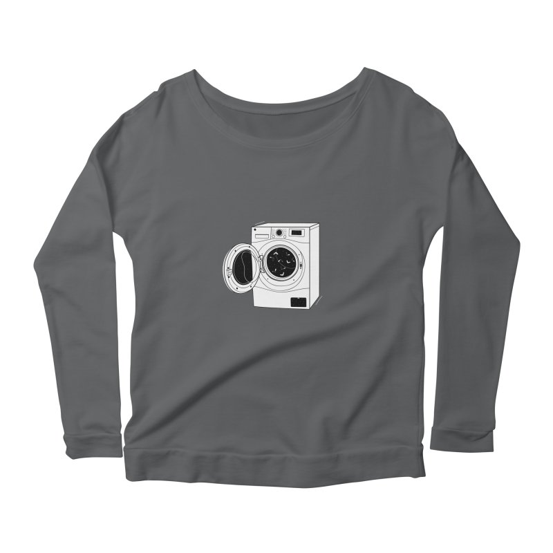 The washing machine and the mystery of the missing socks Women's Scoop Neck Longsleeve T-Shirt by coclodesign's Artist Shop
