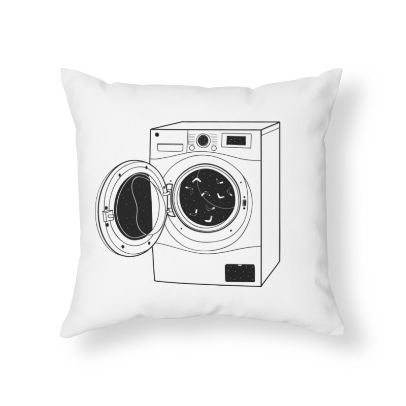 The washing machine and the mystery of the missing socks Home Throw Pillow by coclodesign's Artist Shop