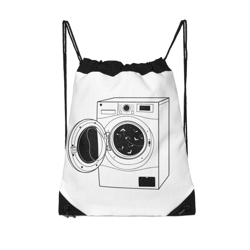 The washing machine and the mystery of the missing socks Accessories Drawstring Bag Bag by coclodesign's Artist Shop