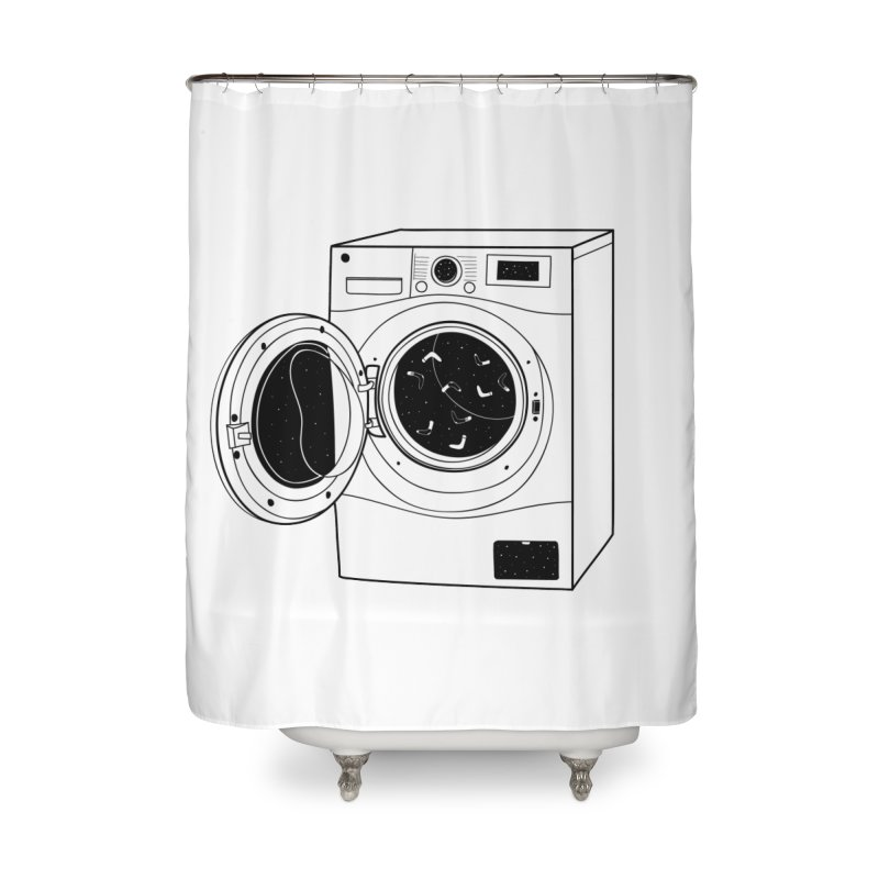 The washing machine and the mystery of the missing socks Home Shower Curtain by coclodesign's Artist Shop