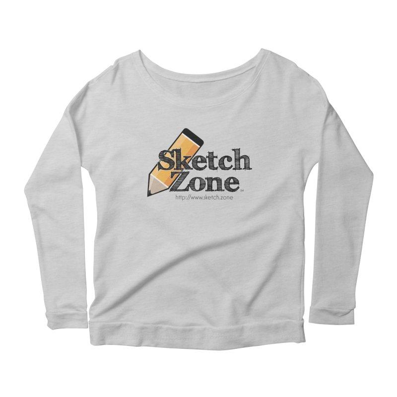 Throwback Sketch Zone Logo Women's Longsleeve Scoopneck  by Coconut Justice's Artist Shop