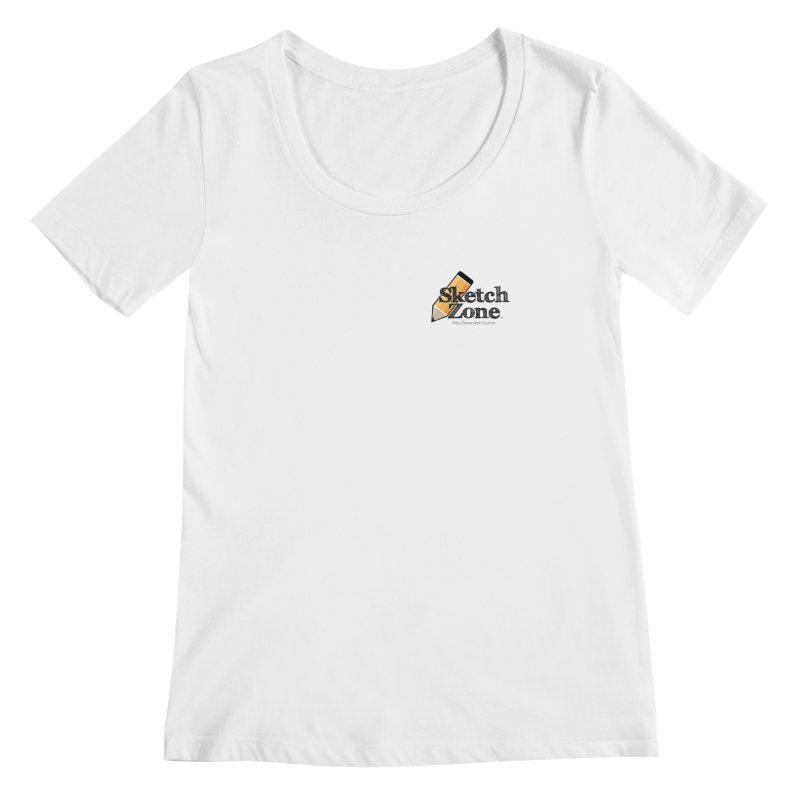 Throwback Sketch Zone Logo - Small Logo Women's Scoopneck by Coconut Justice's Artist Shop