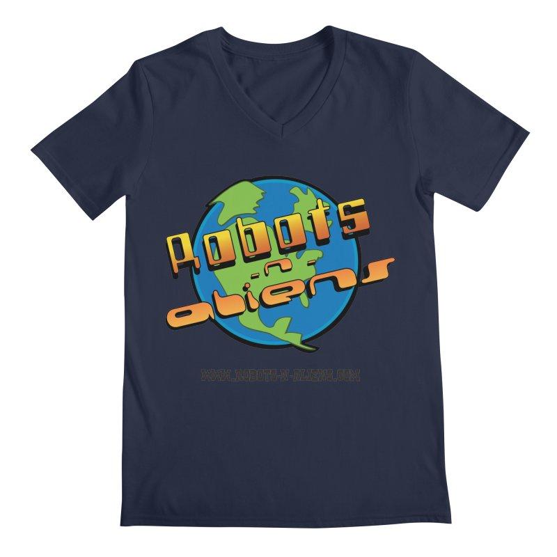 Robots 'n Aliens Big Logo Men's V-Neck by Coconut Justice's Artist Shop