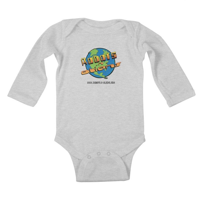 Robots 'n Aliens Big Logo Kids Baby Longsleeve Bodysuit by Coconut Justice's Artist Shop