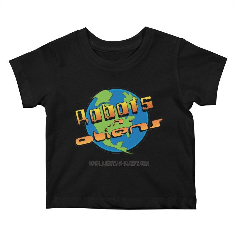 Robots 'n Aliens Big Logo Kids Baby T-Shirt by Coconut Justice's Artist Shop