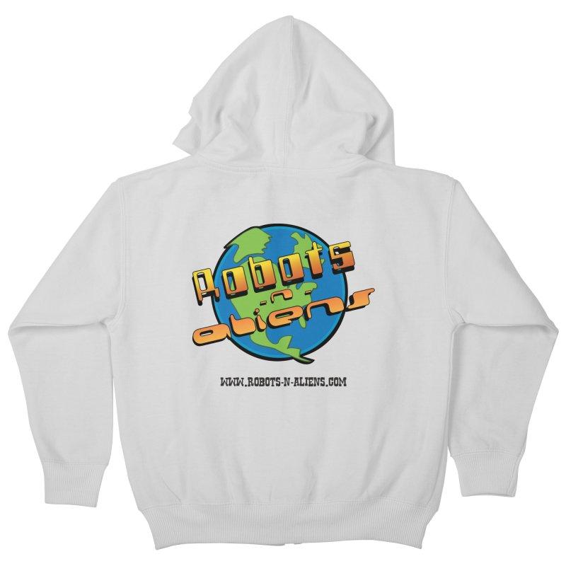 Robots 'n Aliens Big Logo Kids Zip-Up Hoody by Coconut Justice's Artist Shop