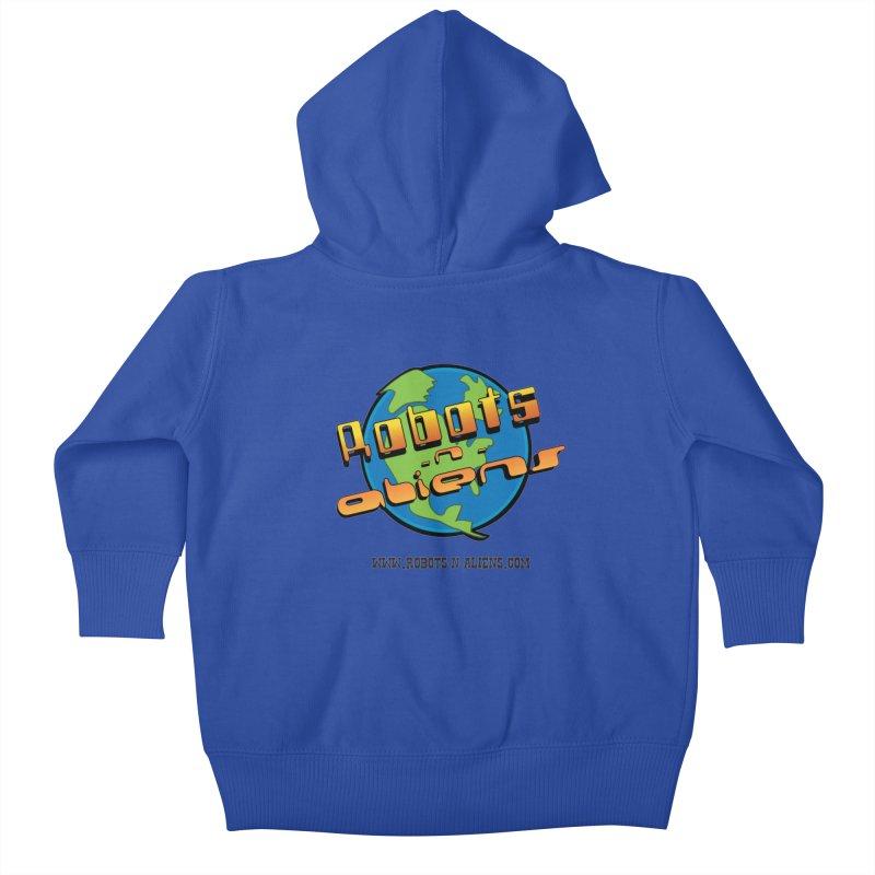 Robots 'n Aliens Big Logo Kids Baby Zip-Up Hoody by Coconut Justice's Artist Shop