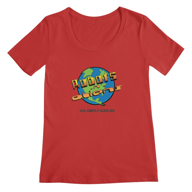 Robots 'n Aliens Big Logo Women's Scoopneck by Coconut Justice's Artist Shop