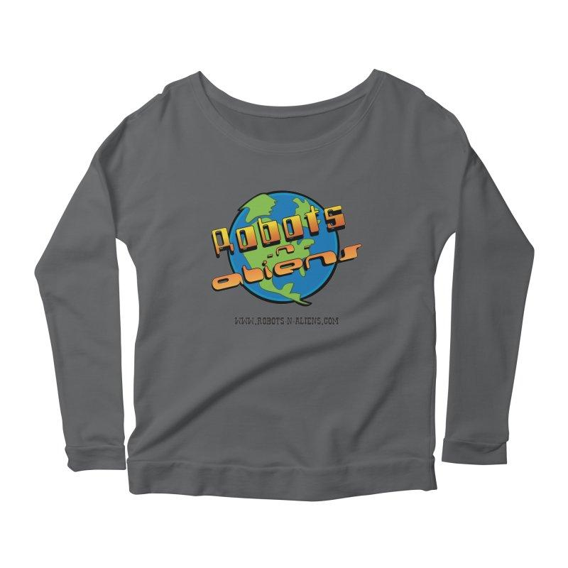 Robots 'n Aliens Big Logo Women's Longsleeve Scoopneck  by Coconut Justice's Artist Shop