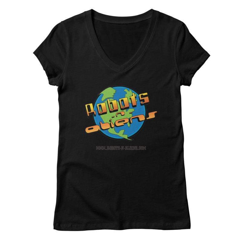 Robots 'n Aliens Big Logo Women's V-Neck by Coconut Justice's Artist Shop