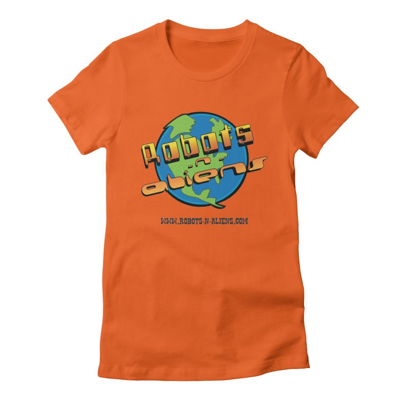 Robots 'n Aliens Big Logo Women's Fitted T-Shirt by Coconut Justice's Artist Shop