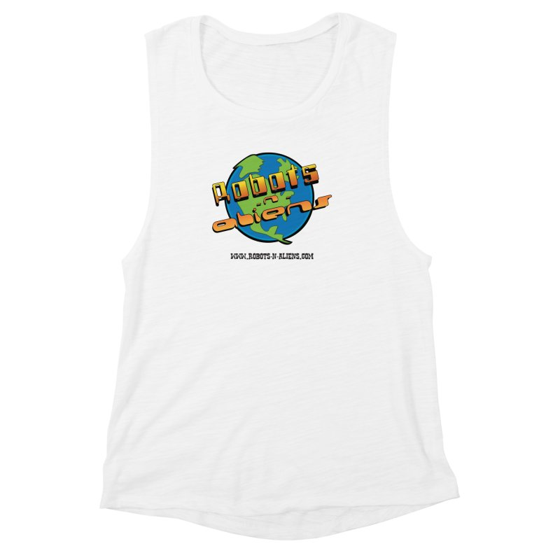 Robots 'n Aliens Big Logo Women's Muscle Tank by Coconut Justice's Artist Shop