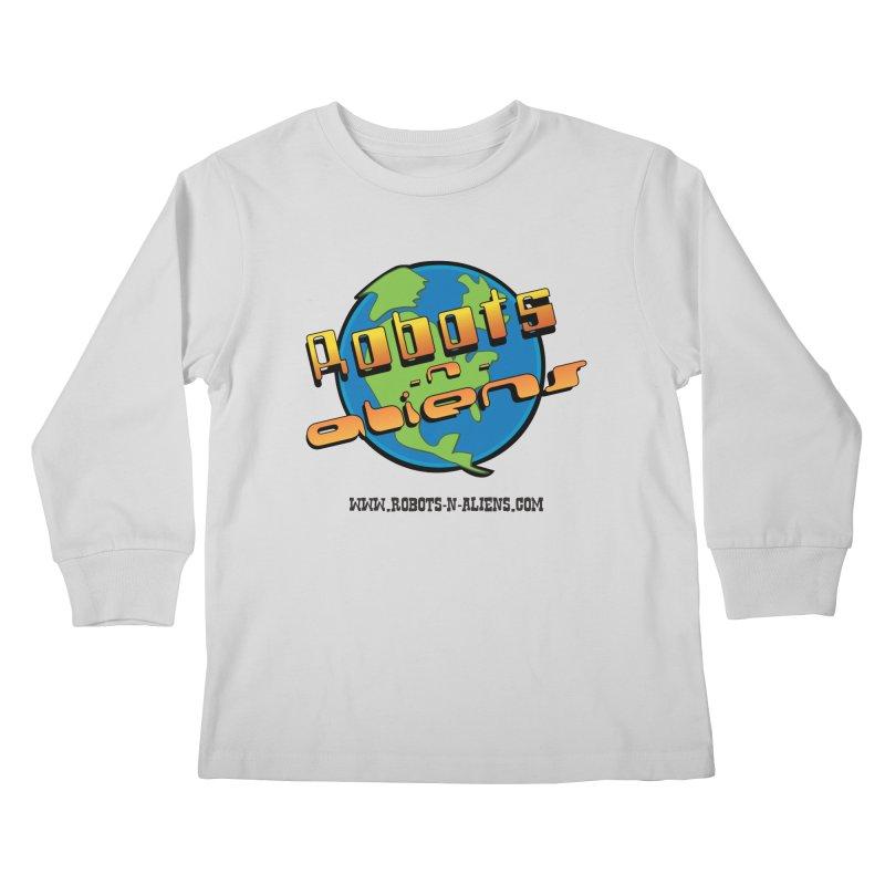 Robots 'n Aliens Big Logo Kids Longsleeve T-Shirt by Coconut Justice's Artist Shop