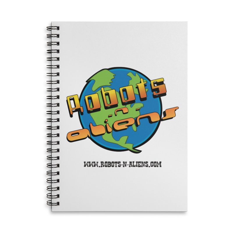 Robots 'n Aliens Big Logo Accessories Lined Spiral Notebook by Coconut Justice's Artist Shop