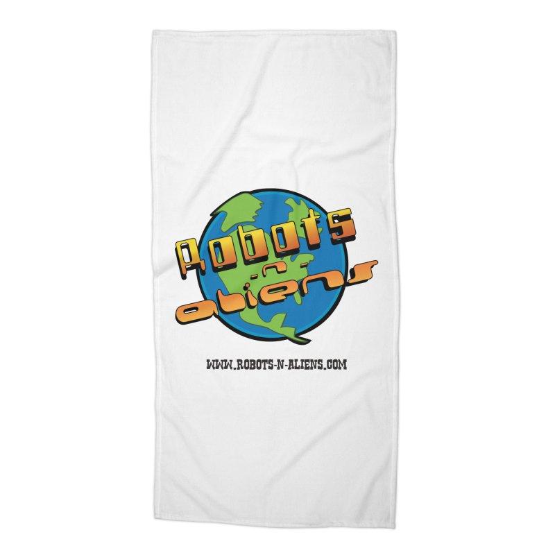 Robots 'n Aliens Big Logo Accessories Beach Towel by Coconut Justice's Artist Shop