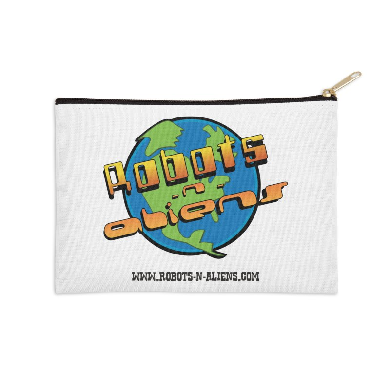 Robots 'n Aliens Big Logo Accessories Zip Pouch by Coconut Justice's Artist Shop