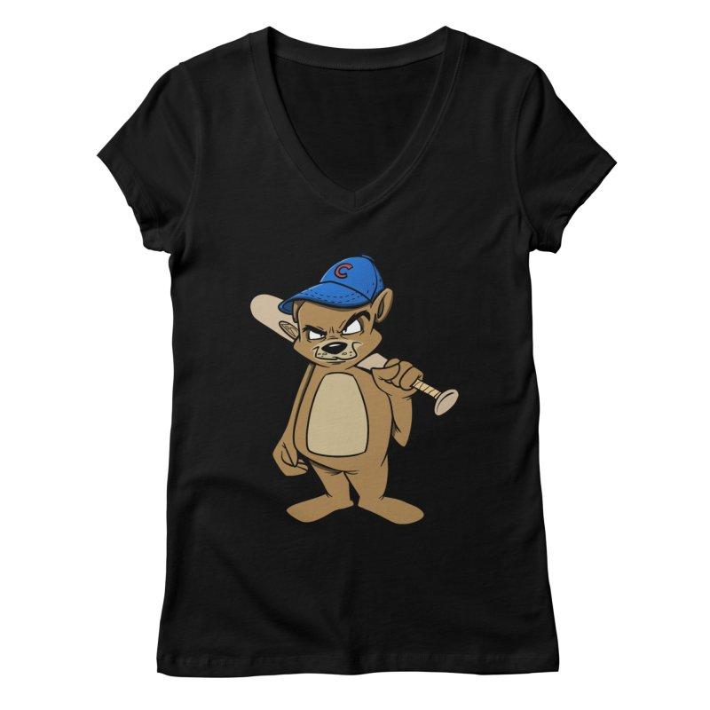 Baseball Bear Women's V-Neck by Coconut Justice's Artist Shop