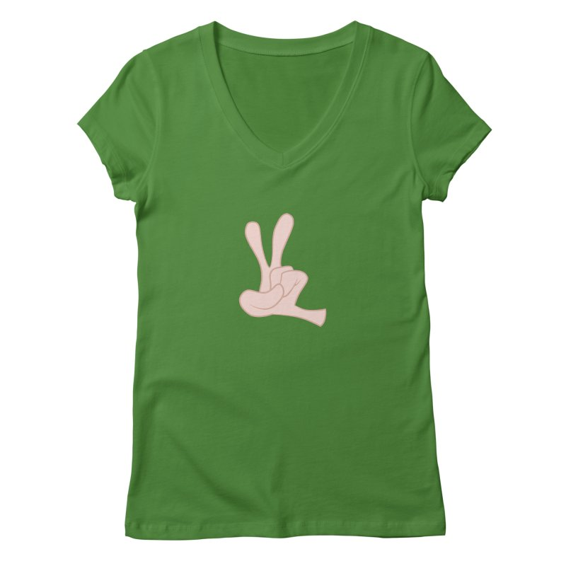Funny Fingers - Peace Women's Regular V-Neck by Coconut Justice's Artist Shop