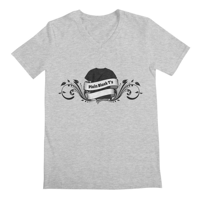 Plain Black T's Logo Men's Regular V-Neck by Coconut Justice's Artist Shop
