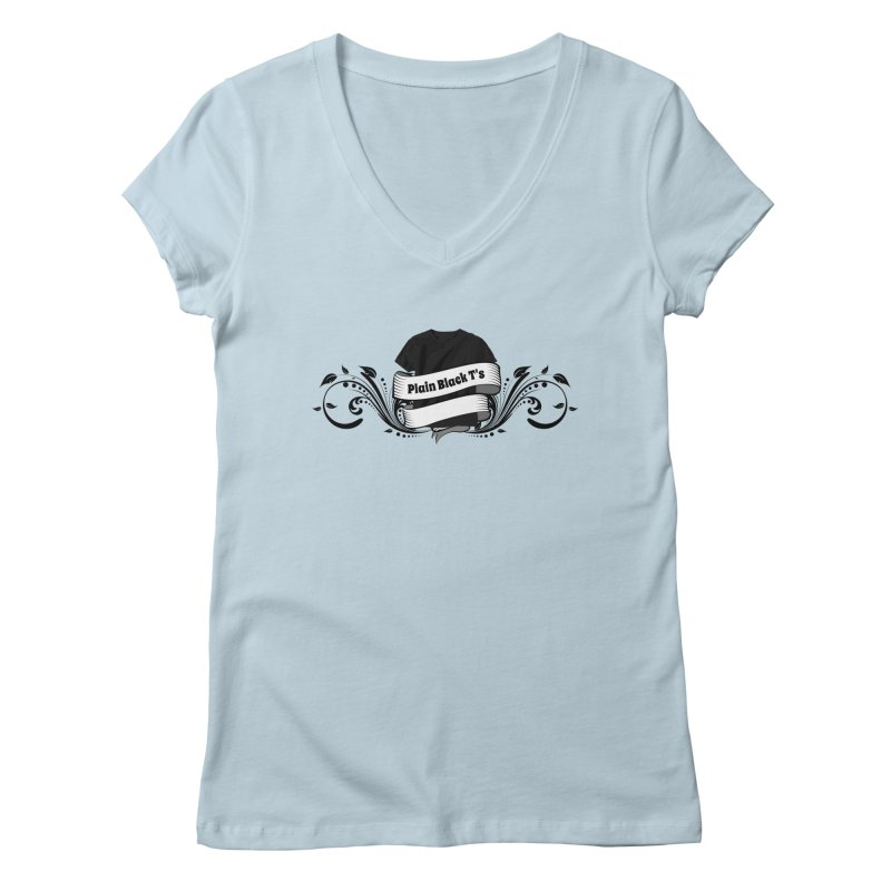 Plain Black T's Logo Women's V-Neck by Coconut Justice's Artist Shop
