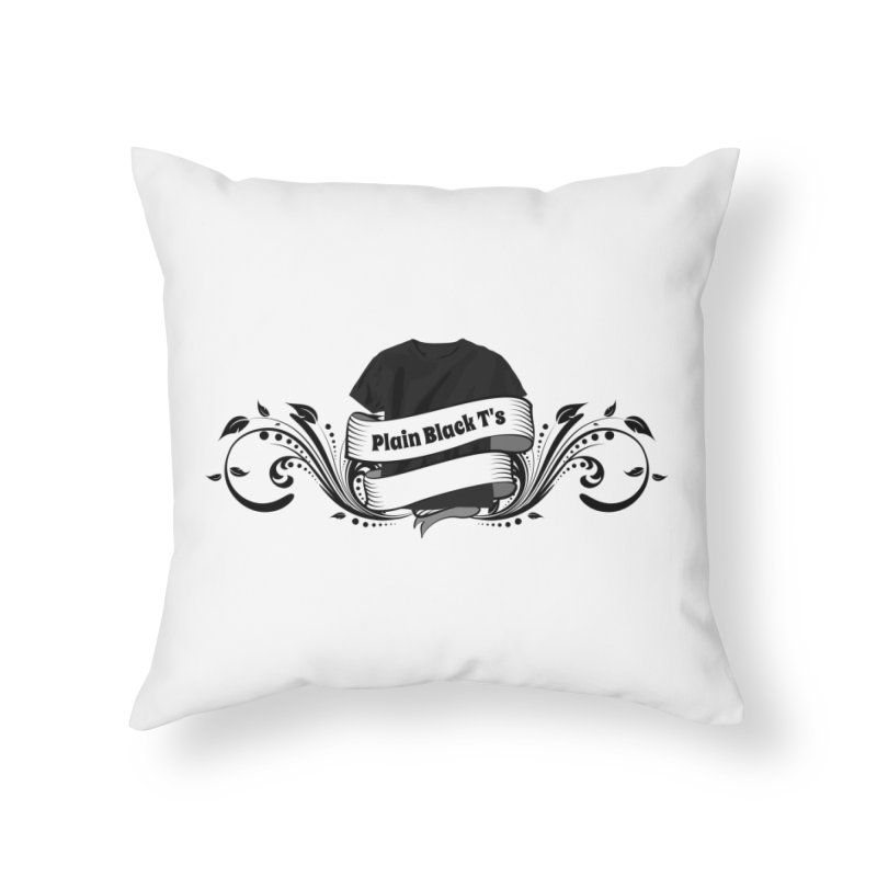 Plain Black T's Logo Home Throw Pillow by Coconut Justice's Artist Shop