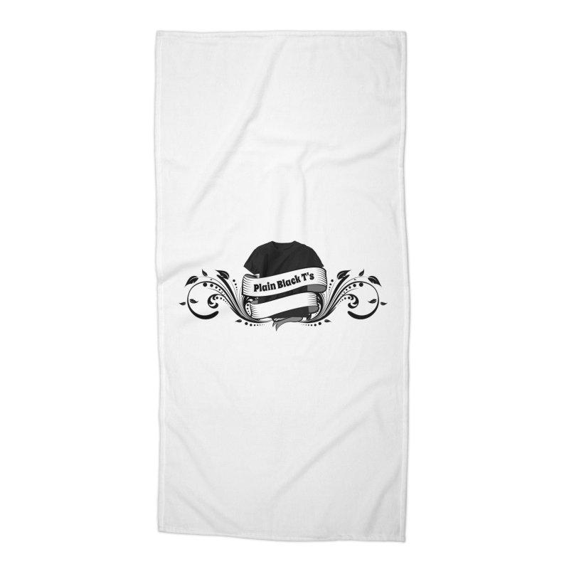 Plain Black T's Logo Accessories Beach Towel by Coconut Justice's Artist Shop