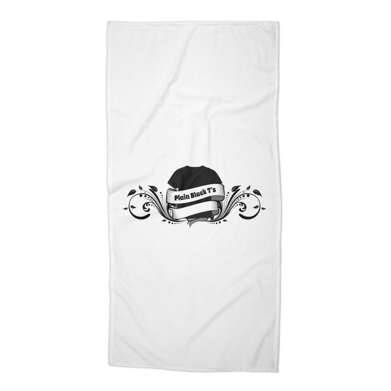 Plain Black T's Logo Accessories Beach Towel by Coconut Justice's Artist Shop