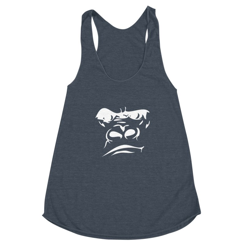 Gorilla Face Women's Racerback Triblend Tank by Coconut Justice's Artist Shop