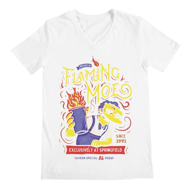 Flaming Moe Men's V-Neck by coddesigns's Artist Shop