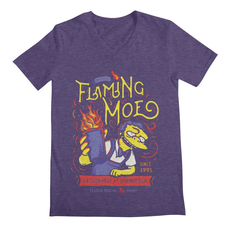 Flaming Moe Men's V-Neck by coddesigns's Artist Shop
