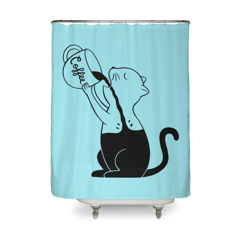 Cat Home Shower Curtain by coffeeman's Artist Shop