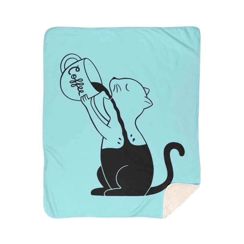 Cat Home Sherpa Blanket Blanket by coffeeman's Artist Shop